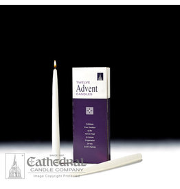"""Advent Taper Candles - 12"""" (White) (Box of 12)"""
