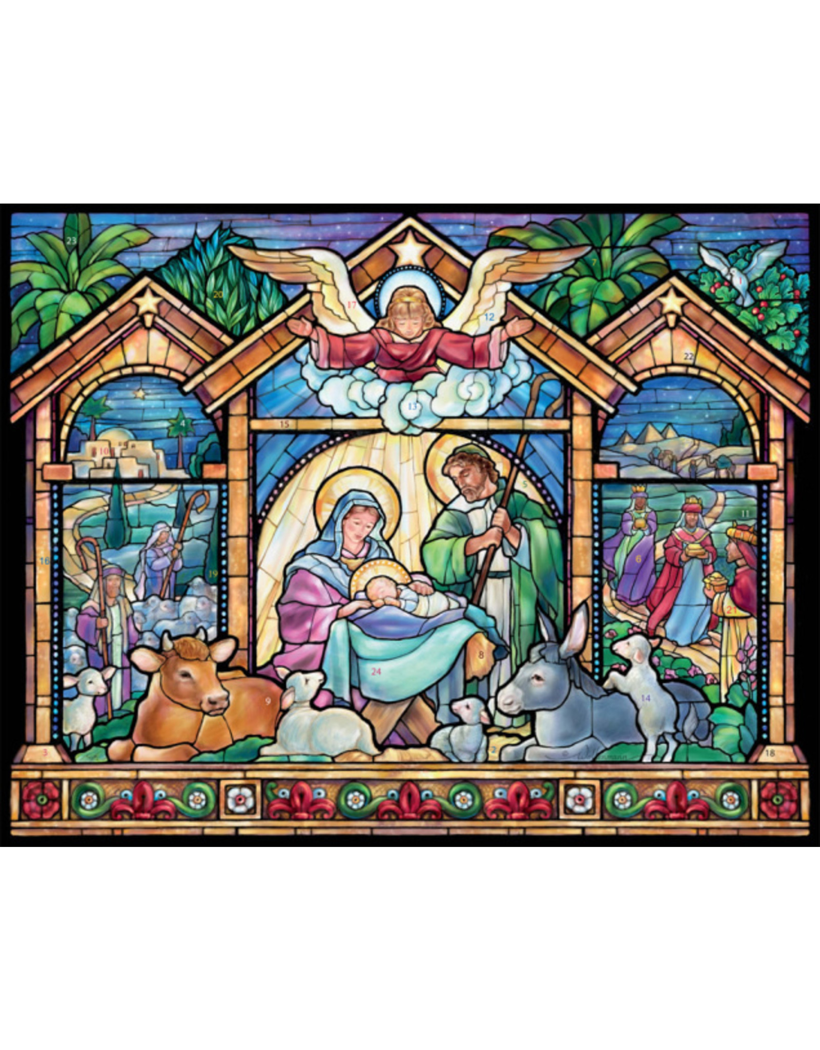 Large Advent Calendar - Stained Glass Nativity