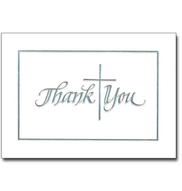 Boxed Cards Thank You Silver Embossed (12)