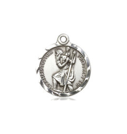 MEDAL CHRISTOPHER ROUND STERLING SILVER