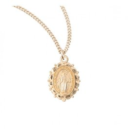 """MEDAL MIRACULOUS SCALLOP 16KT GOLD PLATED/18"""" CHAIN"""