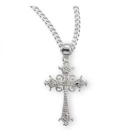 """MEDAL CROSS CUBIC ZIRCONIA/STERLING SILVER/18"""" CHAIN"""