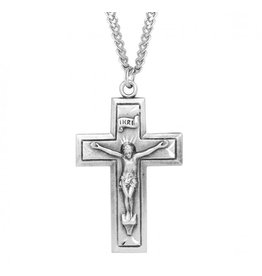 Sterling Silver Engraved Wide Cross Crucifix Necklace