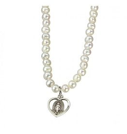 """Medal Miraculous Heart Pearl/Sterling Silver/16"""" Chain"""