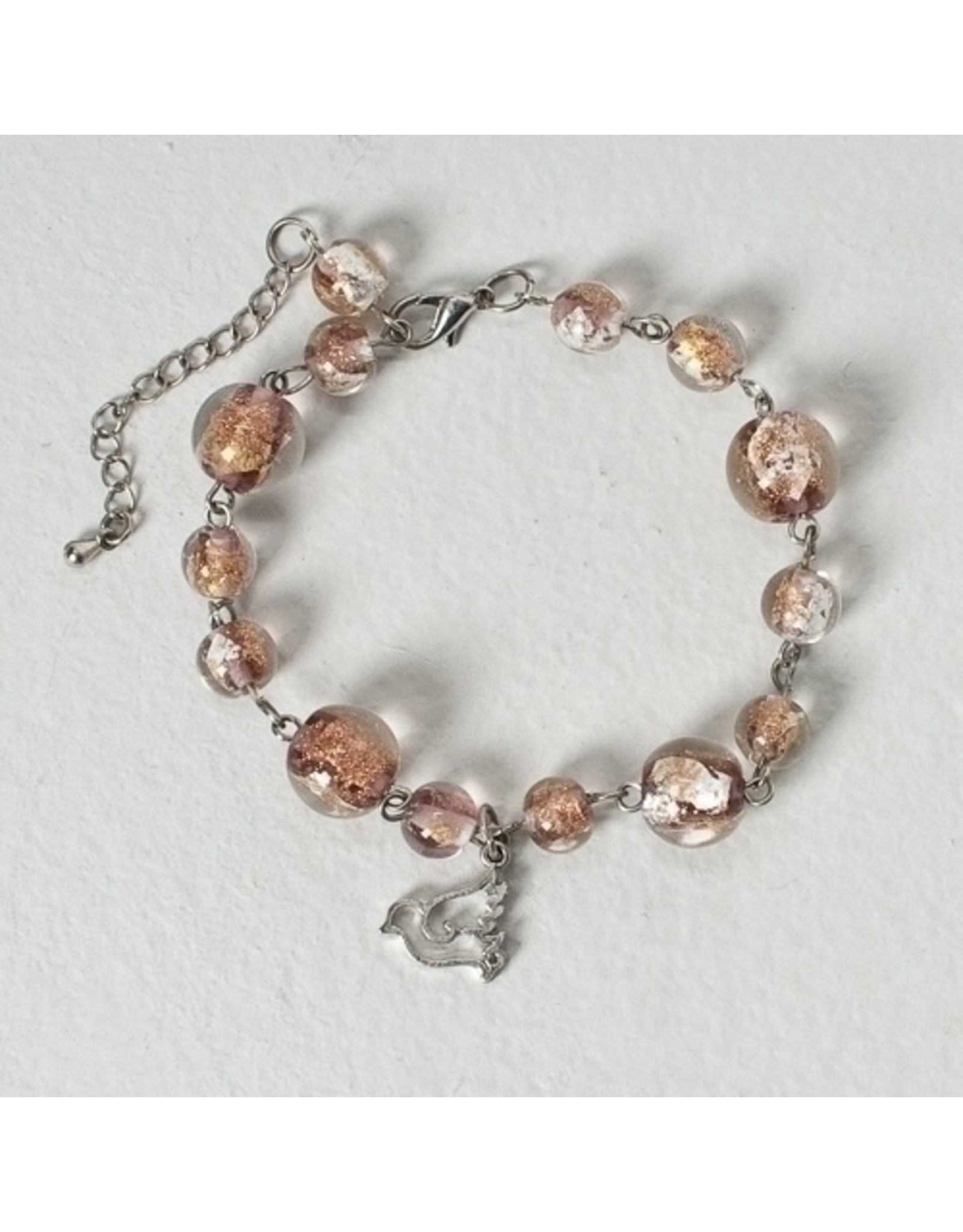 Confirmation Bracelet with Dove Charm & Glass Beads