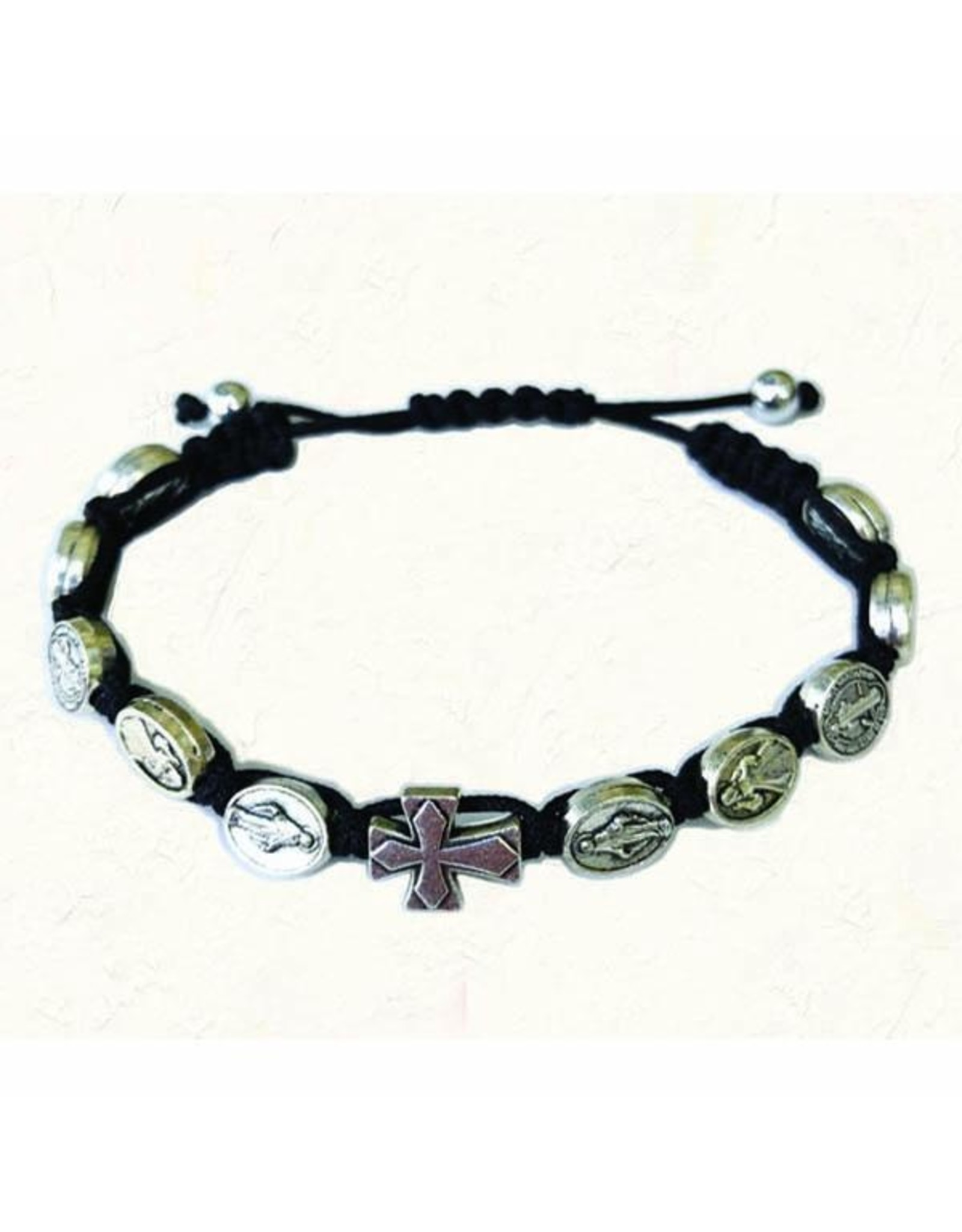 Black Slip Knot Bracelet with Medals and Cross