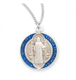 Saint Benedict Round Blue and Red Enameled Jubilee Sterling Silver Medal