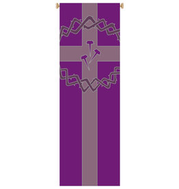 BANNER CROWN/NAILS/CROSS PURPLE