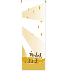 Christmas Wisemen/Shepherds White & Gold Banner