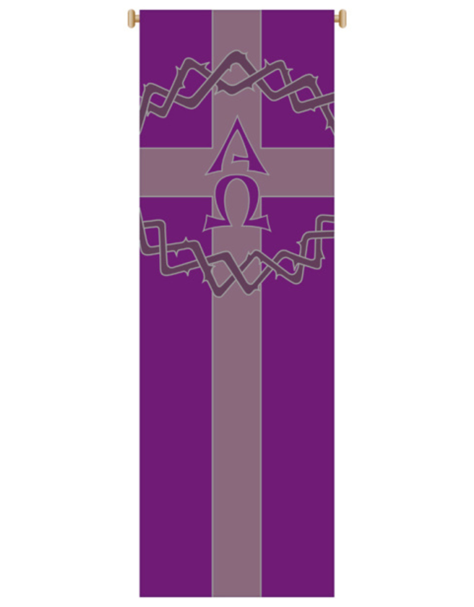 Purple Crown of Thorns with Alpha Omega and Cross Banner