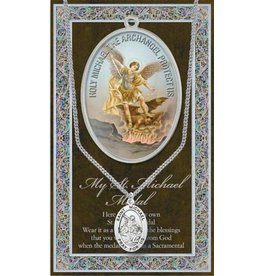 Pewter St. Michael Medal on Chain with Prayer Card