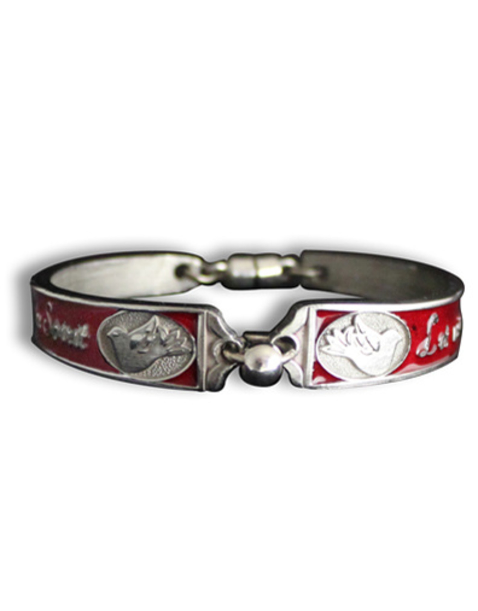 Confirmation Bracelet Silver Plated/Red Magnetic Closure