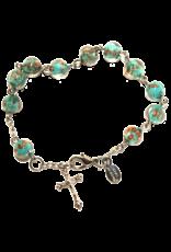 Rosary Bracelet Green Murano Glass
