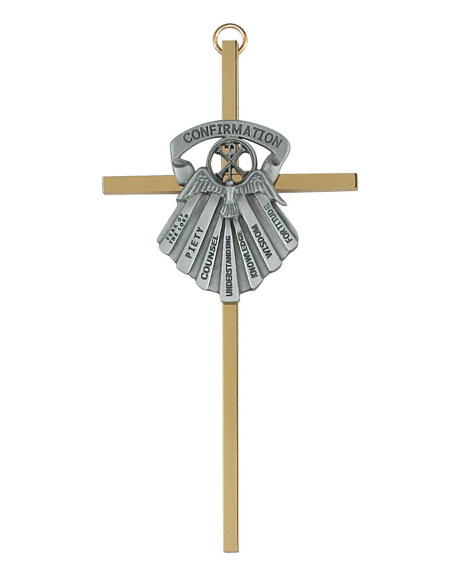 "Confirmation Cross 6"" Brass/Pewter"