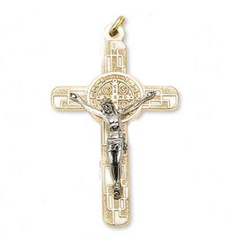 MEDAL CRUCIFIX BENEDICT GOLD/SILVER ON CORD