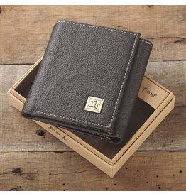 Wallet Brown Leather w/3 Crosses Badge