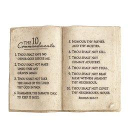 Ten Commandments Book Plaque 8x6