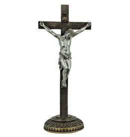 "Standing Crucifix 13.75"" Pewter/Bronze"