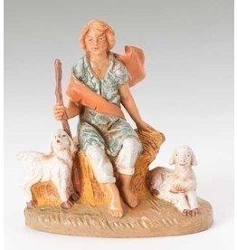 "Fontanini Peter, Shepherd Sitting with Sheep 5"""