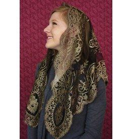 Veil - Authentic Spanish Camellia - Black & Gold
