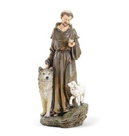 """St. Francis with Lamb and Wolf Statue (Renaissance Collection), 9.75"""""""