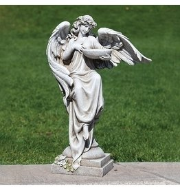 "Angel with Bird Bath and Flowers Garden Statue, 20"""