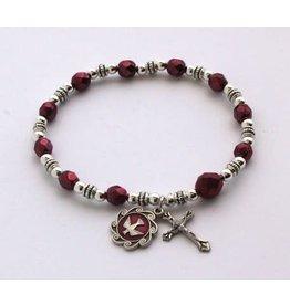 Bracelet - Holy Spirit Medal, Burgundy