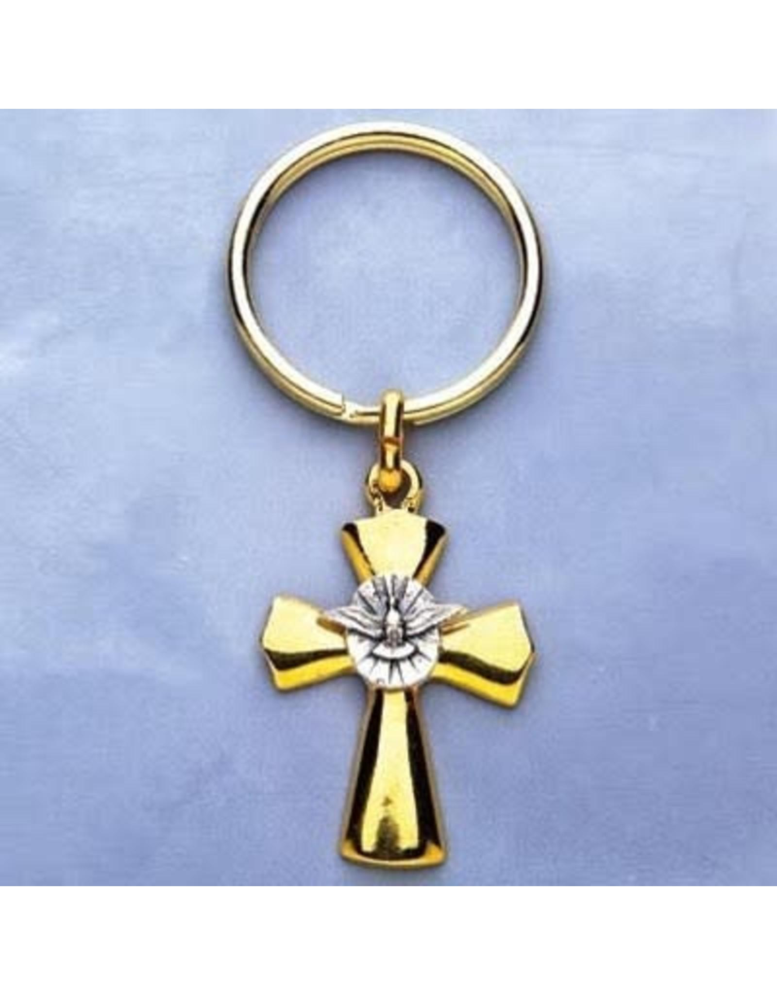 Confirmation Holy Spirit Cross/Dove Keychain