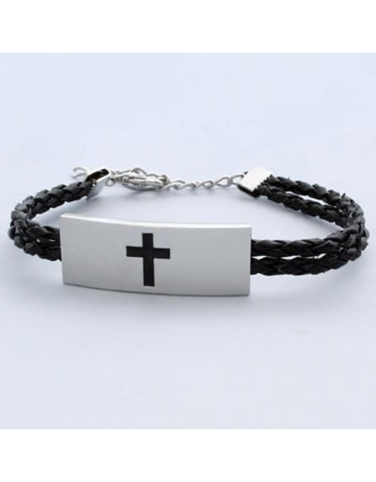 Bracelet Cross Leather/Stainless Steel