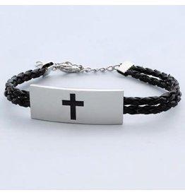 Bracelet - Cross, Leather/Stainless Steel