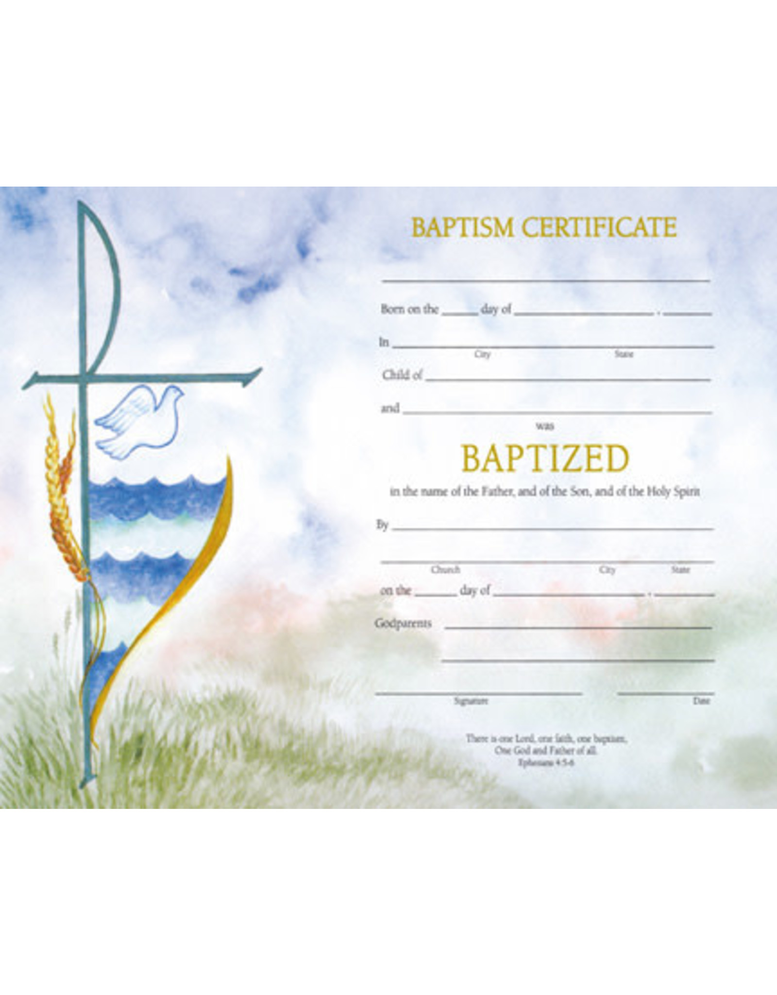 Certificate Baptism Watercolor (50) w/Envelopes