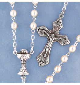 First Communion Rosary Pearl/Silver