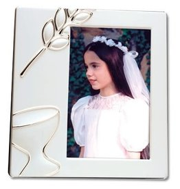 First Communion Frame 3.5X5 Frosted White Enamel