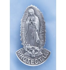 Visor Clip Our Lady of Guadalupe Protect Us Pewter
