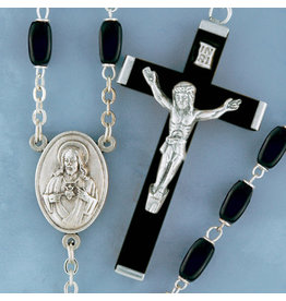 Rosary Black Square Wood/Silver