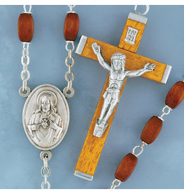 Rosary Brown Square Wood/Silver