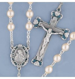 Rosary Glass Pearl Double Capped/Sacred Heart of Jesus Centerpiece