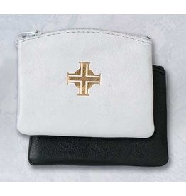 Rosary Case White Leather Zip