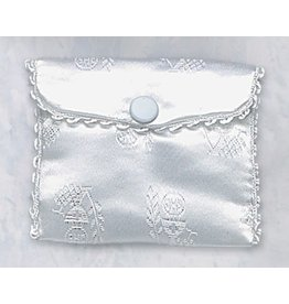 First Communion Rosary Case White Satin