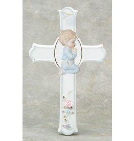 "Cross Praying Boy 6.5"" Porcelain"