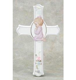 "Cross Praying Girl 6.5"" Porcelain"