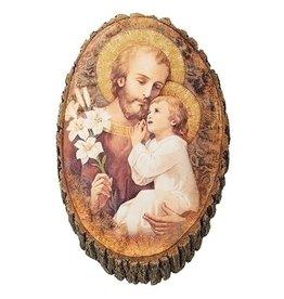 """Plaque Joseph & Child Wood 12.25"""""""