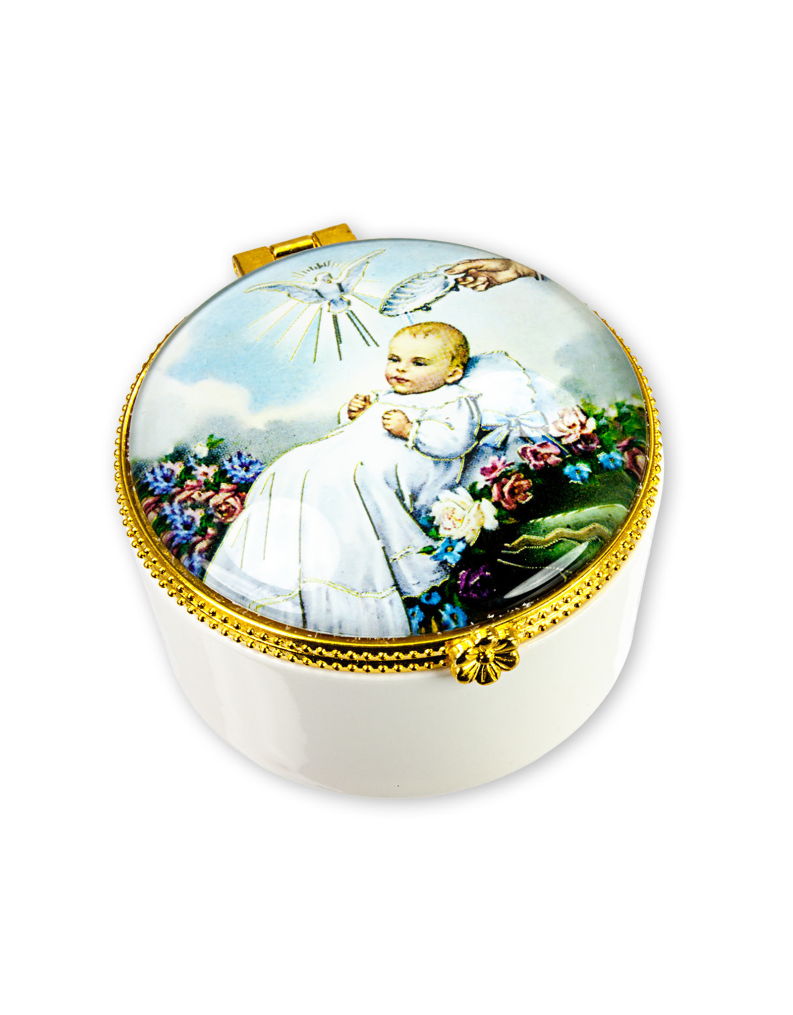 Baptism Porcelain Rosary Box with Glass