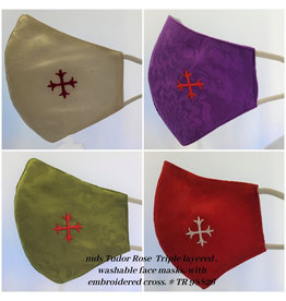 Face Mask Tudor Rose-White, Purple, Green or Red