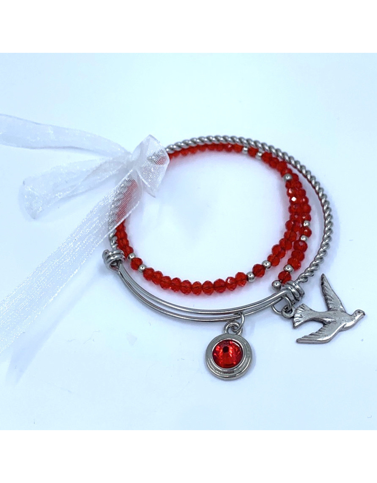Confirmation Bracelet - Stainless Steel Dove and Gemstone
