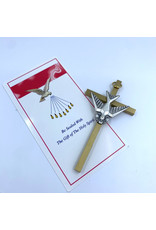 """Confirmation Cross - 4"""" Dove Brass/Pewter"""