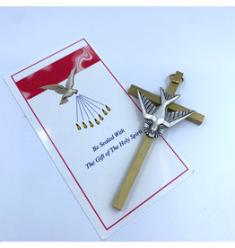 "Confirmation Cross - 4"" Dove Brass/Pewter"