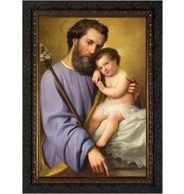 St Joseph & the Infant Jesus - Ornate Dark Framed Canvas -  8x12