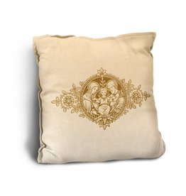 Holy Family Woodcut-Look Pillow