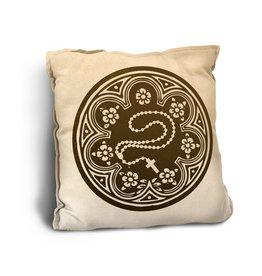 Rosary Woodcut-Look Pillow